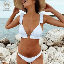 Peachtan V-neck bikini Push up ruffles female Triangle swimwear - $7.18+