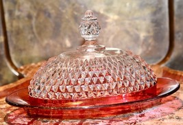 VINTGE INDIANA GLASS DIAMOND POINT RUBY RED FLASH COVERED BUTTER DISH UN... - $34.99