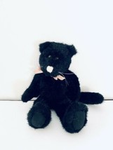 "Boyds Bears Zoe R Grimilkin 12"" Black Plush Jointed  Kitty Cat with Pink Bow - $12.38"