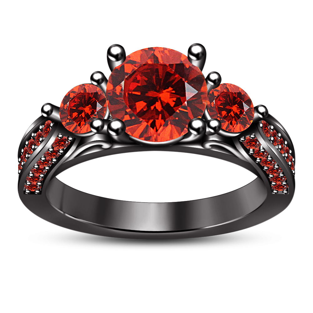Round Cut Red Garnet 14k Black Gold Plated 925 Silver Women's Wedding Ring Set