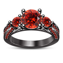Round Cut Red Garnet 14k Black Gold Plated 925 Silver Women's Wedding Ring Set - $86.99