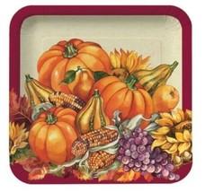 "Thanksgiving Fall Plenty 7"" Dessert Plates 8 Ct Cornucopia Pumpkin Banquet - $3.99"