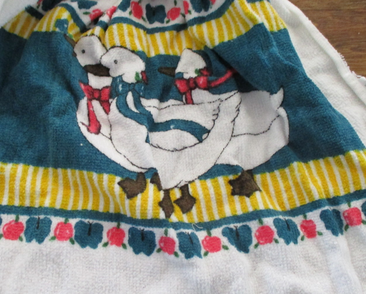 Kitchen Towel with Crocheted Top - Ducks