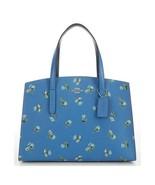 NWT Coach Floral Print Charli Handbag Slate Blue Silver 68290  Large 13 ... - $197.99