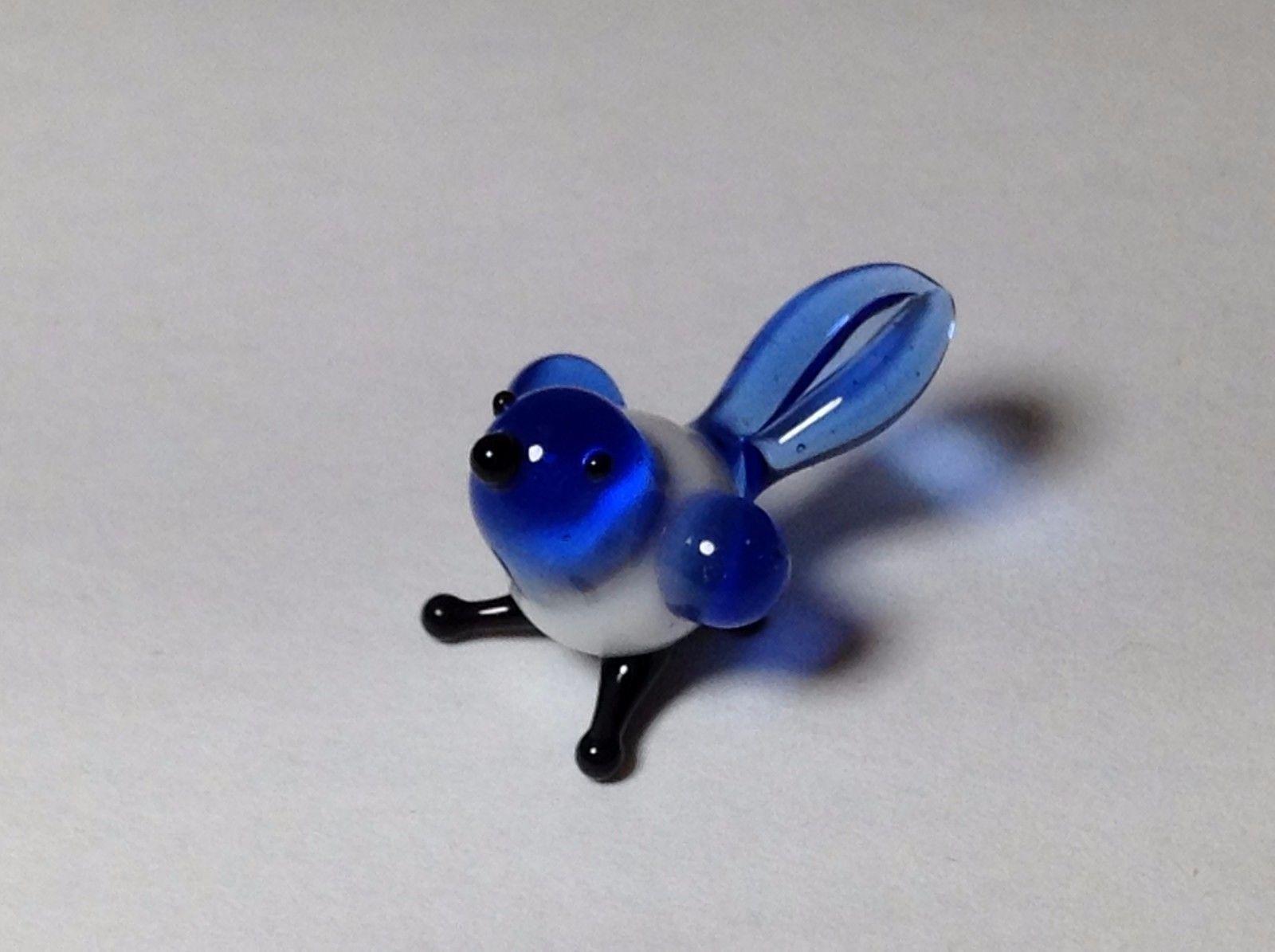 Miniature Glass Blue Bird   Handmade Blown Glass Made USA