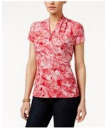 Charter Club Top Sz M Red Barn Combo Printed Wrap Front Crepe Casual Blouse - $24.18