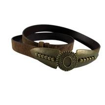 Chicos Womens Belt Size Medium Large Adjustable Distressed Leather Metal... - $28.71