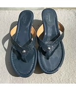 Coach Jorgina Women's Shoes Wedge Platform Thong Sandals Size US 8 Navy ... - $69.30