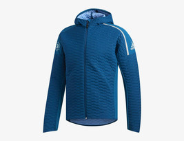 Adidas Women 2019 Boston Marathon ZNE Winter Run Hooded Jacket Aqua Blue... - $110.00