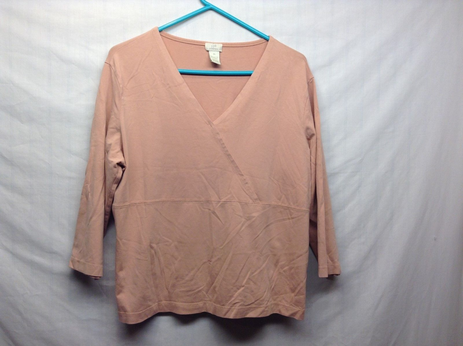 J.Jill V-Neck Salmon Colored 3/4 Sleeve Blouse Sz XL