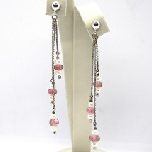DROP EARRINGS WHITE GOLD 18K, CHAIN, PEARL WHITE, TOURMALINE, CASCADE image 1