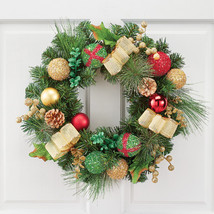 Sparkle Ornament Christmas Wreath with Gold Bows, Pinecones and Berries - $34.66