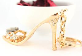 Heels Stiletto Bronze Stone Crystal Keychain Charm Cute #MCK11 - $18.17