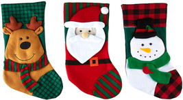 Imperial Home 3 Pcs Set - Classic Christmas Stockings 18' Cute Santa's T... - $27.03