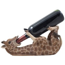 Drinking Giraffe Wine Bottle Holder Statue in African Jungle Safari Scul... - $30.03
