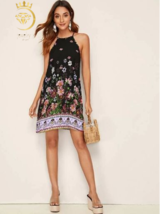 sexy fashion summer sleveles women dress Floral Print Halter Dress - $22.99