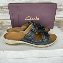 Clarks Womens Black Brown Leather Open Toe Slip on Sildes Sandals Size 7 M - $26.70