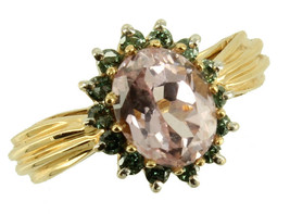 Vintage 14k Gold 2.7ct Kunzite & .35cttw Green Diamonds VV2/SI 1 Ring Sz... - $503.99