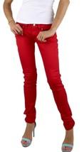 BRAND NEW LEVI'S 524 WOMEN'S SKINNY LOW RISE DENIM STUD JEANS RED 113940007 image 1