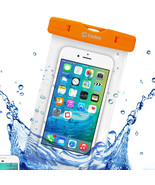 WaterProof 7 Inch Orange Beach and Pool Case fits Samsung Galaxy S9 Plus - $12.86