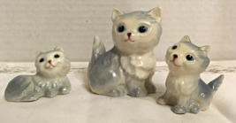 Vintage Set of Three Grey Long Hair Cats / Mama Cat With Kittens / 1950's Kitsch - $14.50