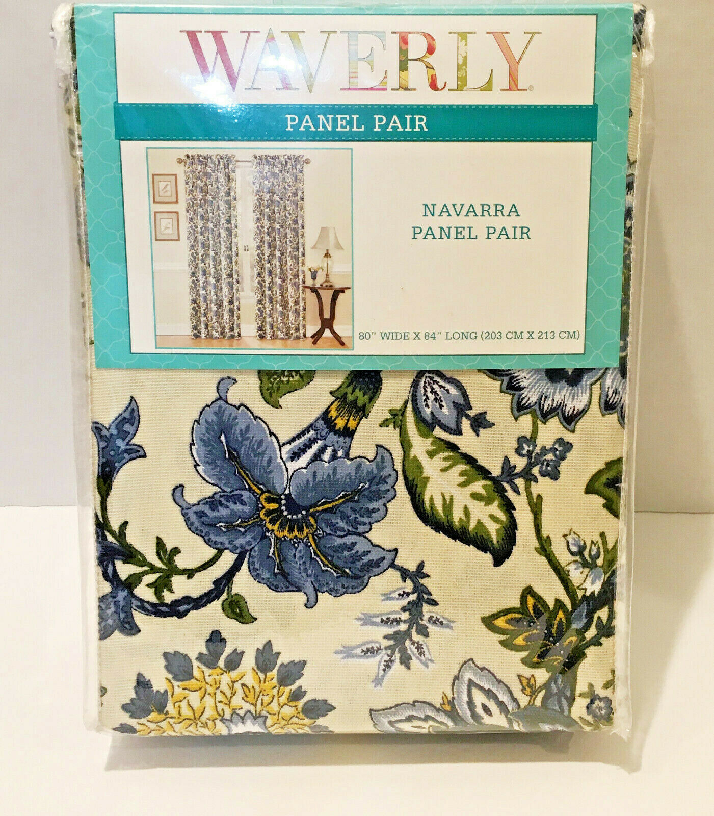 "Primary image for Waverly Navarra Panel Pair 1-80"" x 84"" Floral Blue / Ivory Jacobean Style"