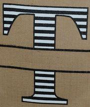 Kate Winston Brand Brown Burlap Monogram Black White T Garden Flag image 3