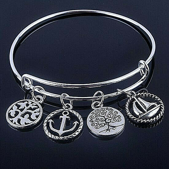 Primary image for Outdoor Life Four Charm Wire Bangle Bracelet Silver NEW