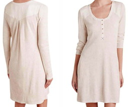 Anthropologie Thermal Henley Chemise Ivory Small 2 4 Scoop Neck Dress Shift NWT - $63.79
