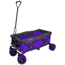 Outdoor Folding Wagon Functional Garden Carts 7 cu ft Purple with Rubber... - $145.02