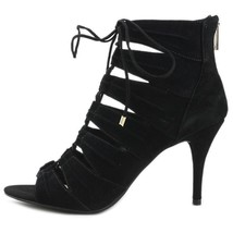 Jessica Simpson Mahiri Lace Up Ghillie Sandals Open Toe Heels, Black Pum... - $75.00