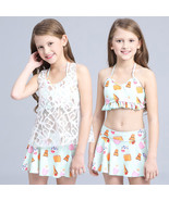 3Pc Summer Child Kids Girls Bikini Swimwear Set Swimsuit Bathing Suit+La... - $14.68