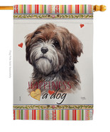 Brown Tibetan Terrier Happiness - Impressions Decorative House Flag H110... - $40.97