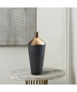 Nikki Chu Lucca Decorative Vase Matte Black Diamond Pattern Base w/ Gold... - $37.95