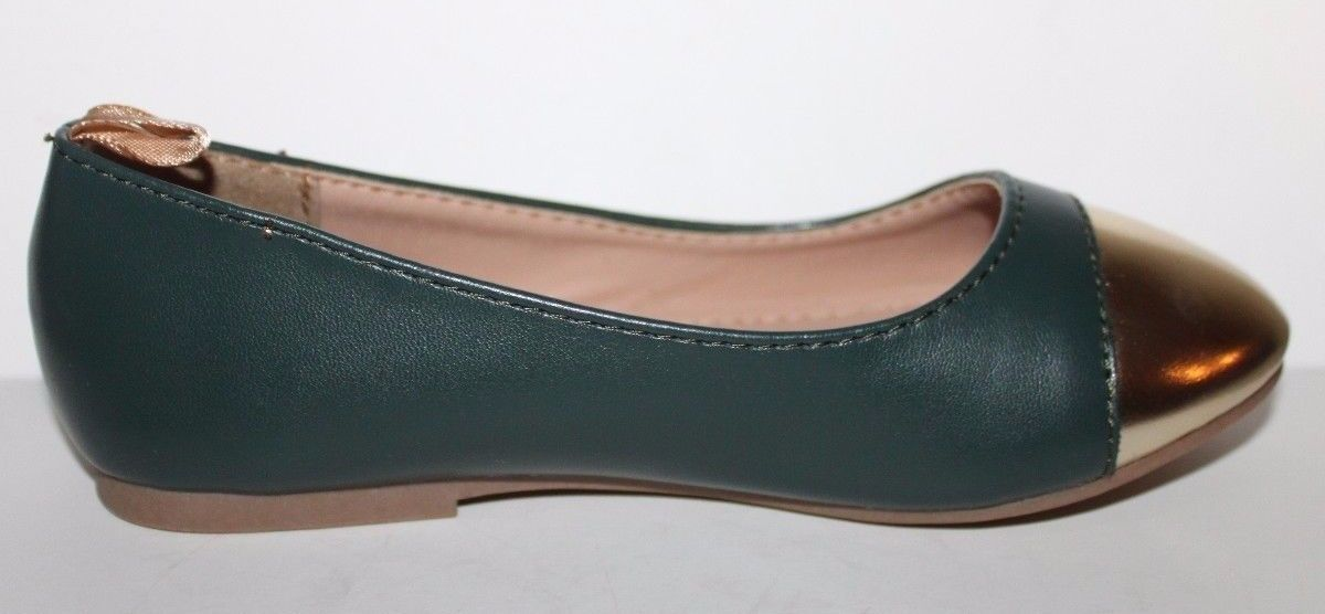 Gap Kids NWOB Girls Green Faux Leather Ballet Flats w/ Gold Toe image 4