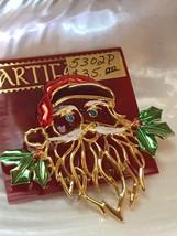 Estate JJ Artifacts Signed Goldtone Santa Claus Head w Branchy Beard Blu... - $24.16