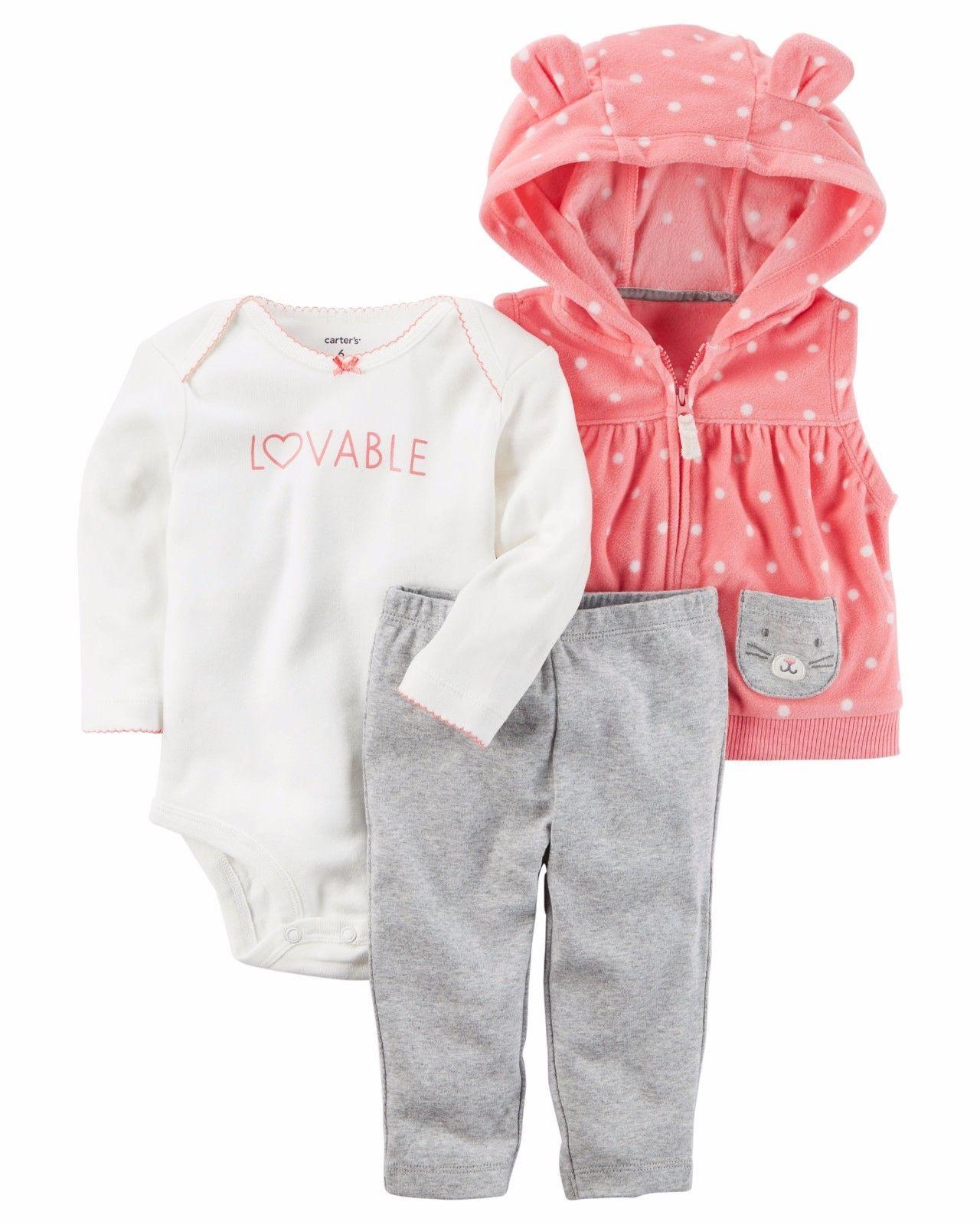 NEW NWT Carter's 3 Piece Vest Set Newborn 3 6 9 12 Months Fleece Lovable Kitty