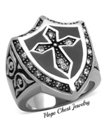 HCJ MEN'S STAINLESS STEEL RELIGIOUS CROSS COAT OF ARMS CRYSTAL RING SIZE... - $15.74