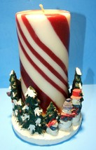 VINTAGE SNOWMAN CANDLE HOLDER WITH CANDY STRIPED CANDLE UNUSED  - $14.80