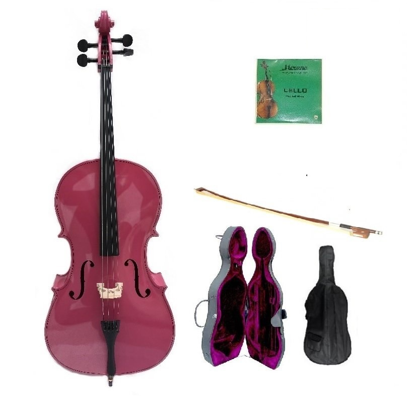 Crystalcello 3/4 Size PINK Cello with Hard Case,Soft Bag,Bow,2 Sets of Strings
