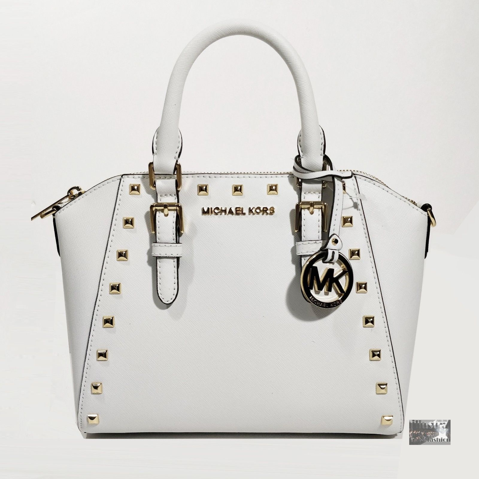 b3b19dffdf52 57. 57. NWT $328 Michael Kors Ciara White Saffiano Leather Studded Satchel  Crossbody Bag · NWT $328 Michael Kors ...