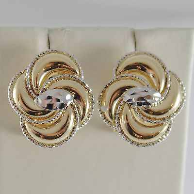 18K WHITE YELLOW GOLD FLOWER OVAL EARRINGS FINELY WORKED, TWISTED, MADE IN ITALY