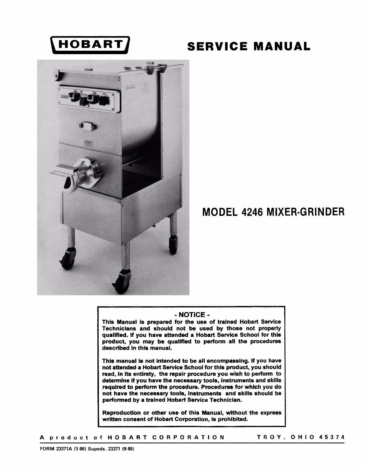 Hobart 4246 Mixer Grinder Service PDF Manual and 50 similar