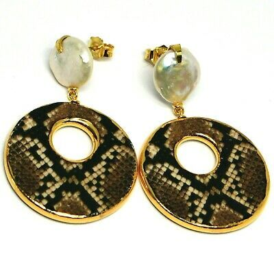 Silver Earrings 925, Hanging, Pearls Baroque Style Flat, Ovals Effect Snake