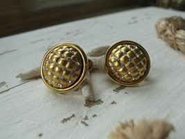 Vintage Genuine Swarovski Crystals Round Gold Tone Clip On Earrings w/Swan Logo - $24.20