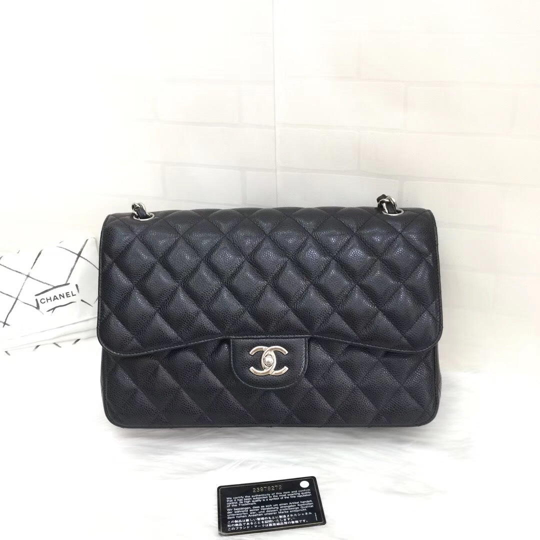 6b4fc7532686 NEW Authentic Chanel BLACK QUILTED CAVIAR JUMBO CLASSIC DOUBLE FLAP ...