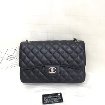 NEW Authentic Chanel BLACK QUILTED CAVIAR JUMBO CLASSIC DOUBLE FLAP BAG SHW - $5,499.00