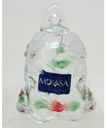 Mikasa Holiday Bloom Christmas Bell 051/922 Red Green Glass - $16.82