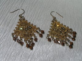 Estate Ornate Goldtone w Bronze Rhinestones & Brown Plastic Dangle Beads... - $8.59