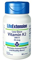 THREE BOTTLES Life Extension Low Dose Vitamin K2 MK-7 bone density heart - $32.26